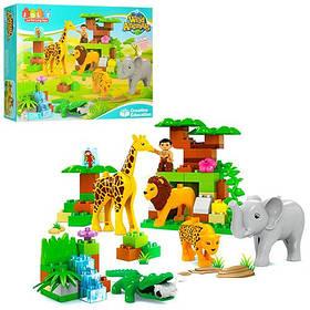Конструктор JDLT 5286  зоопарк,фигурка,животн,лев-звук,на бат(таб),83дет,в кор,49,5-38,5-13см