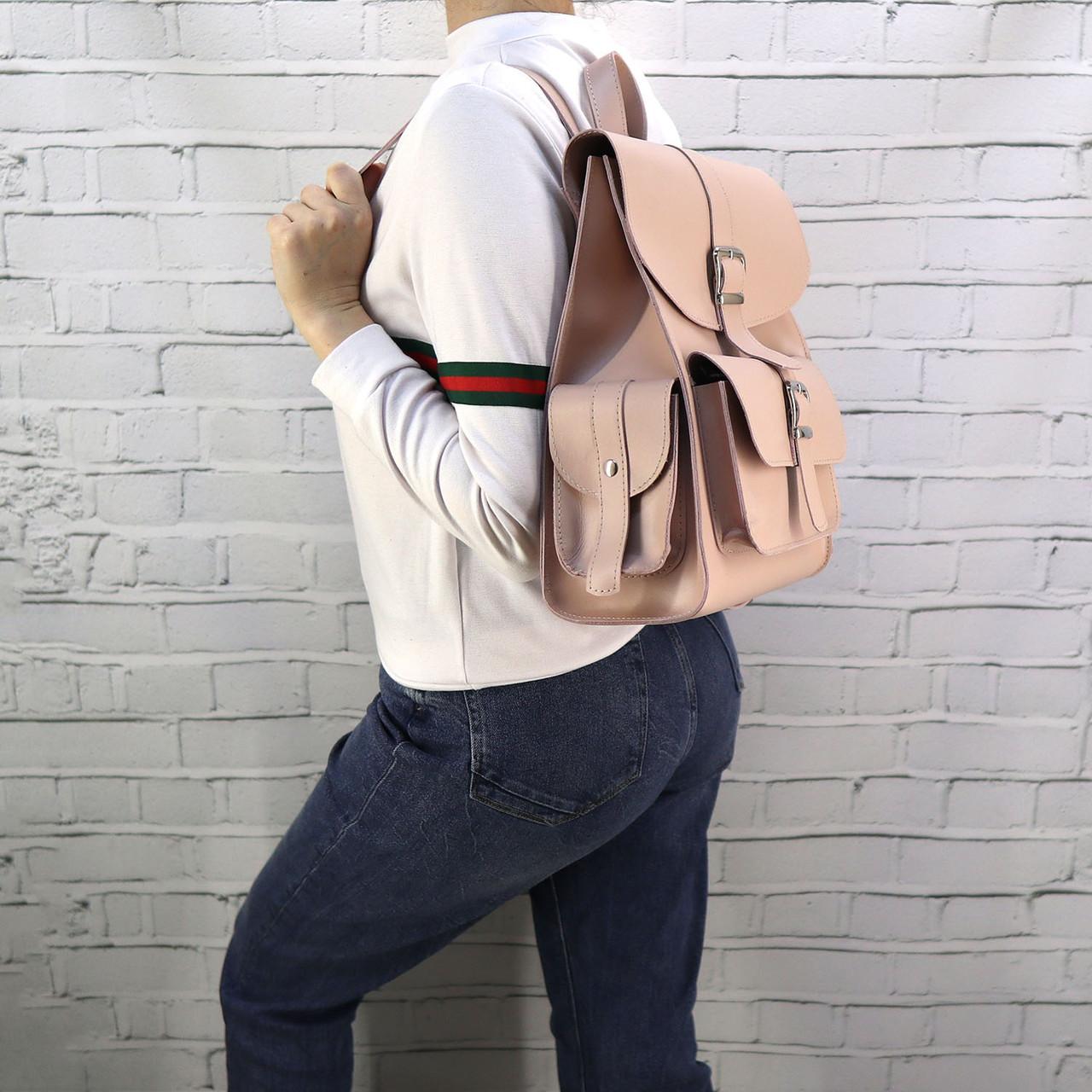 Рюкзак женский graf пудра из натуральной кожи kapri
