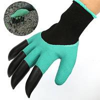 Резиновые перчатки с когтями Garden Genie Gloves для работы с землей садовые с пластиковыми наконечниками