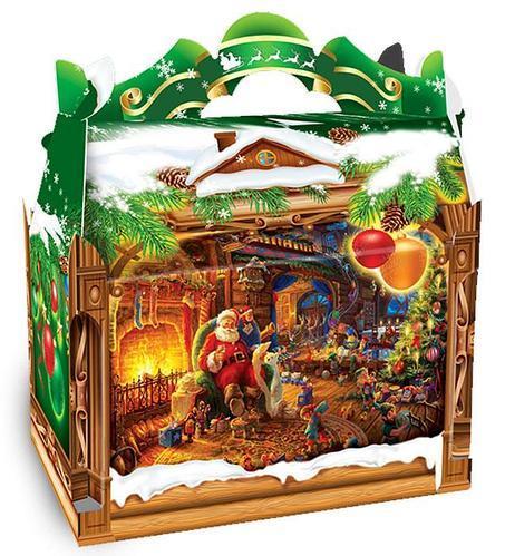 Новогодняя подарочная картонная упаковка для конфет 900 грамм Камин