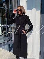 Длинное черное пальто халат из шерсти O.Z.Z.E Д327