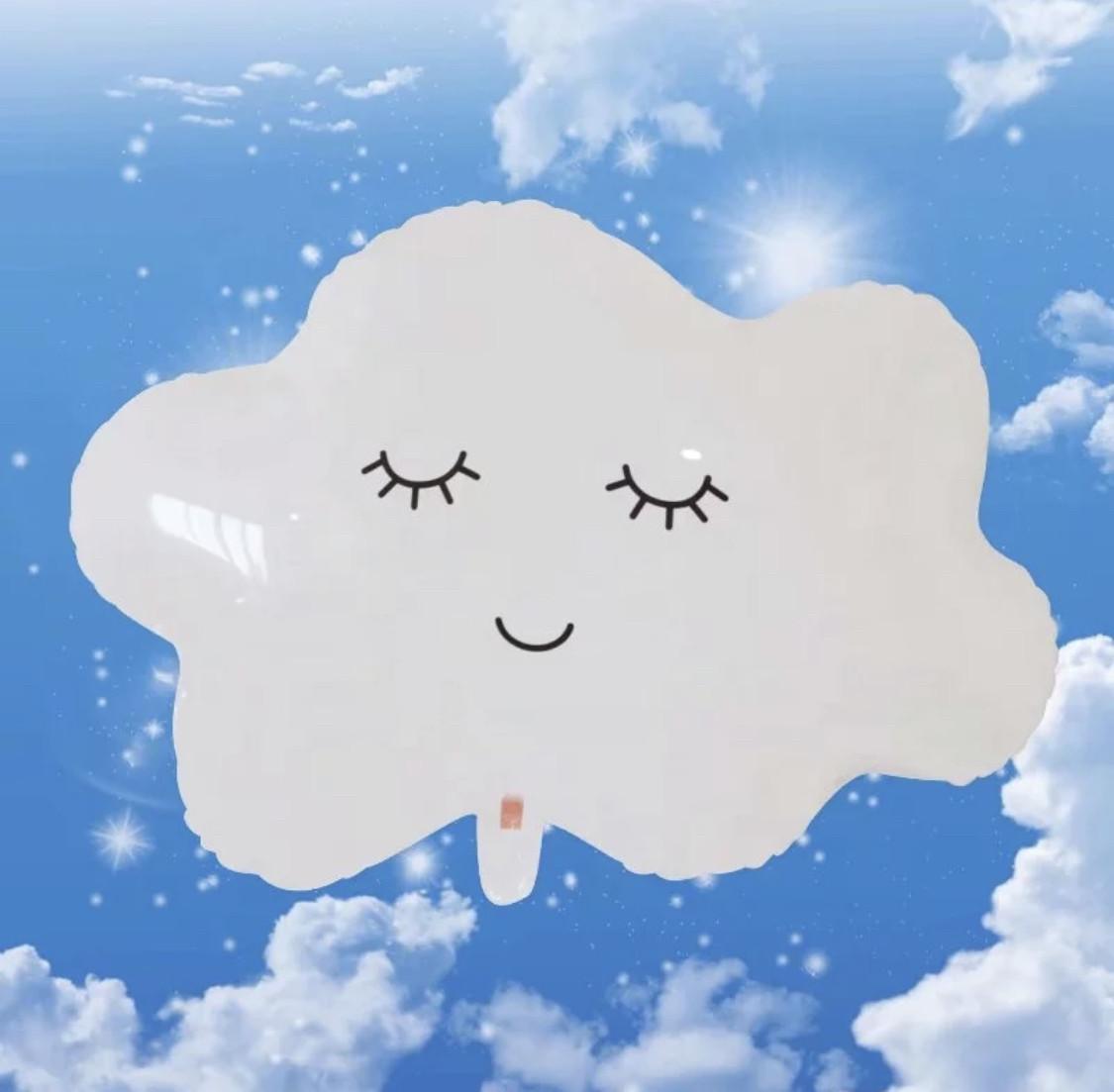 Фольгированный шар облако с глазками.Размер 74*60 см.