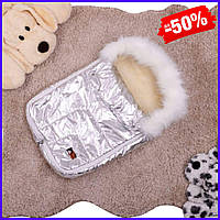 Детский зимний теплый спальный конверт меховой на натуральной овчине в коляску для новорожденного серебро