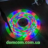 Разноцветная лента 5м с пультом ДУ RGB 3528 LED и Блоком Питания Уличная Гирлянда, фото 2