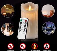 Свеча элетроная восковая LED 75х200мм, 2700К с пультом 3хААА