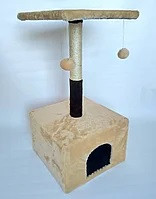 Когтеточка-домик для котов Пушистик, бежевая, 50 см