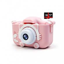 Детский цифровой фотоаппарат Children`s fun Розовый Котик 20Мп Селфи  с картой 16 GB
