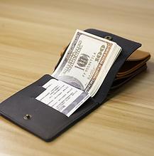 Кожаный кошелек мини для карт и купюр черный