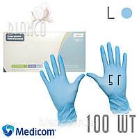 Перчатки Medicom Safe Touch ПЛОТНЫЕ (5 г) нитриловые (100шт), BLUE/ Голубой. Размер: L (8875D)