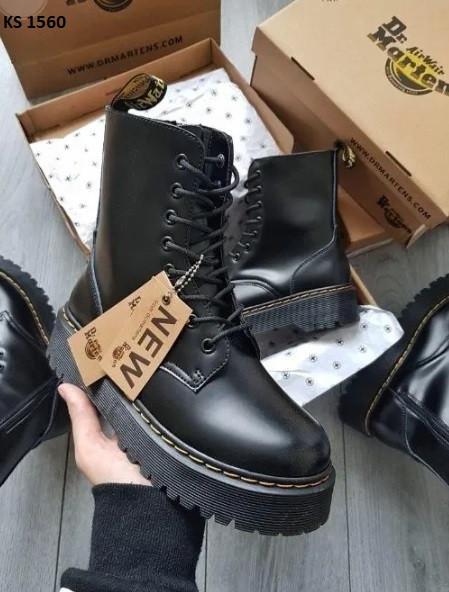 Кожаные женские ботинки Dr. Martens, черные демисезон / Доктор Мартинс жіночі на платформе (Топ реплика ААА+)