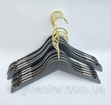 Плечики 5шт деревянные матовые черного цвета, 44см