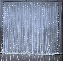 Гирлянда Штора-Водопад Waterfall белый   шнур крупная лампа  3*2 м, фото 3