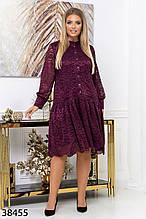 Вечернее свободное платье миди из гипюра р. 50, 52, 54, 56