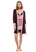 Размер M (44-46). Женская одежда для сна и отдыха, пижама двойка, халат и ночная туника, фиолетовая, Турция