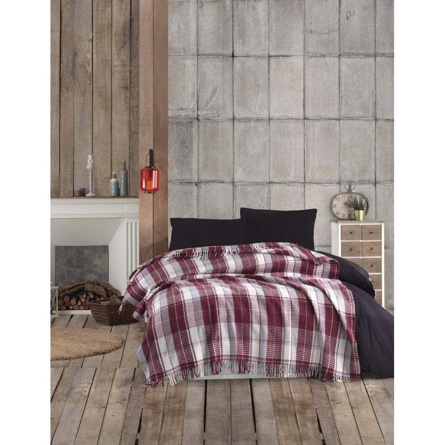 Плед Eponj Home - Ekose 150*220 Bordo-Gri бордовый-серый
