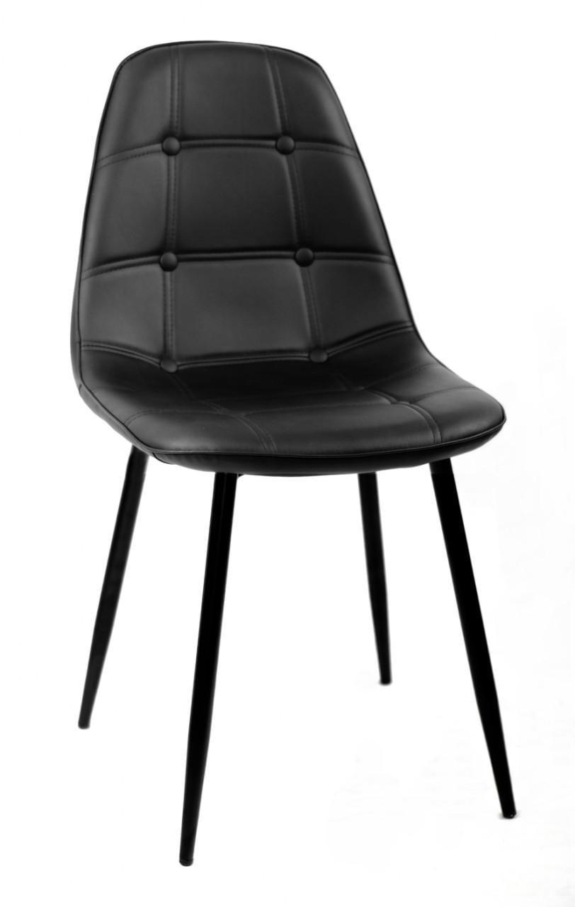 Стильний чорний стілець на металевих чорних ніжках в еко-шкірі Alex ML у вітальню, кухню, кафе