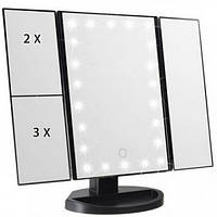 Универсальное зеркало для макияжа с подсветкой MIRROR 22 LED SuperStar с боковыми зеркалам (DM3209 Black)