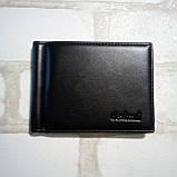 Зажим для денег кожаный с отделением для карт черный, фото 2