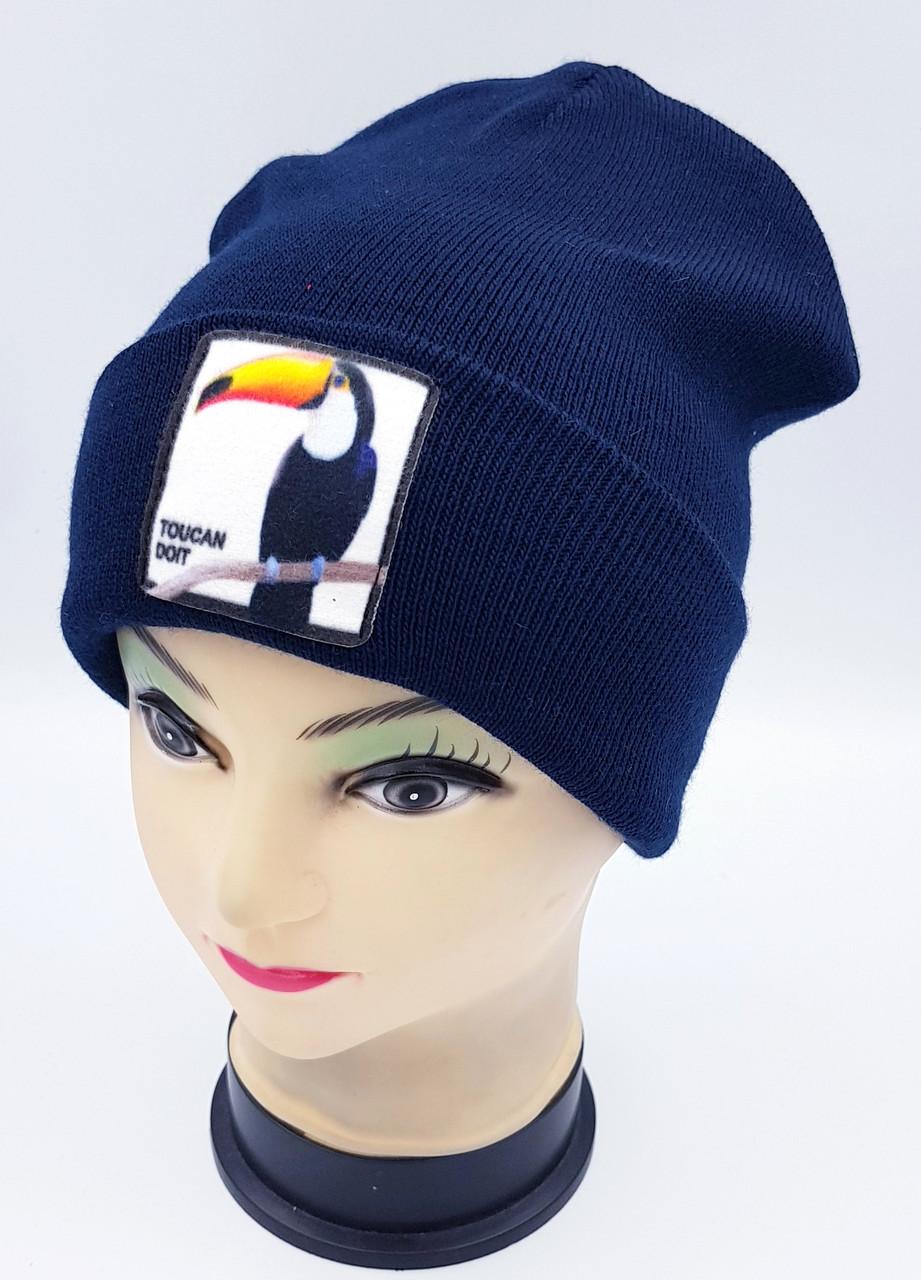 Детская вязаная шапка Klaus Объемный шеврон 53-55см (366-ВА)