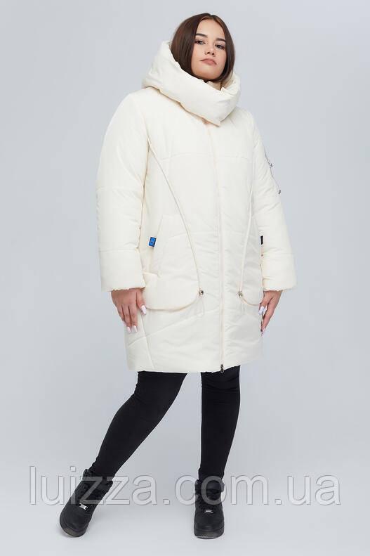 Женская удлиненная куртка 52 - 66 р, молочный