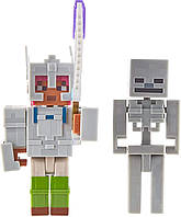 Набор фигурок Майнкрафт Адриан и Скелетон Mattel Minecraft Dungeons Adriene and Skeleton уценка