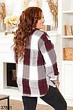 Женская клетчатая рубашка с карманами р. 52, 54, 56, 58, фото 2
