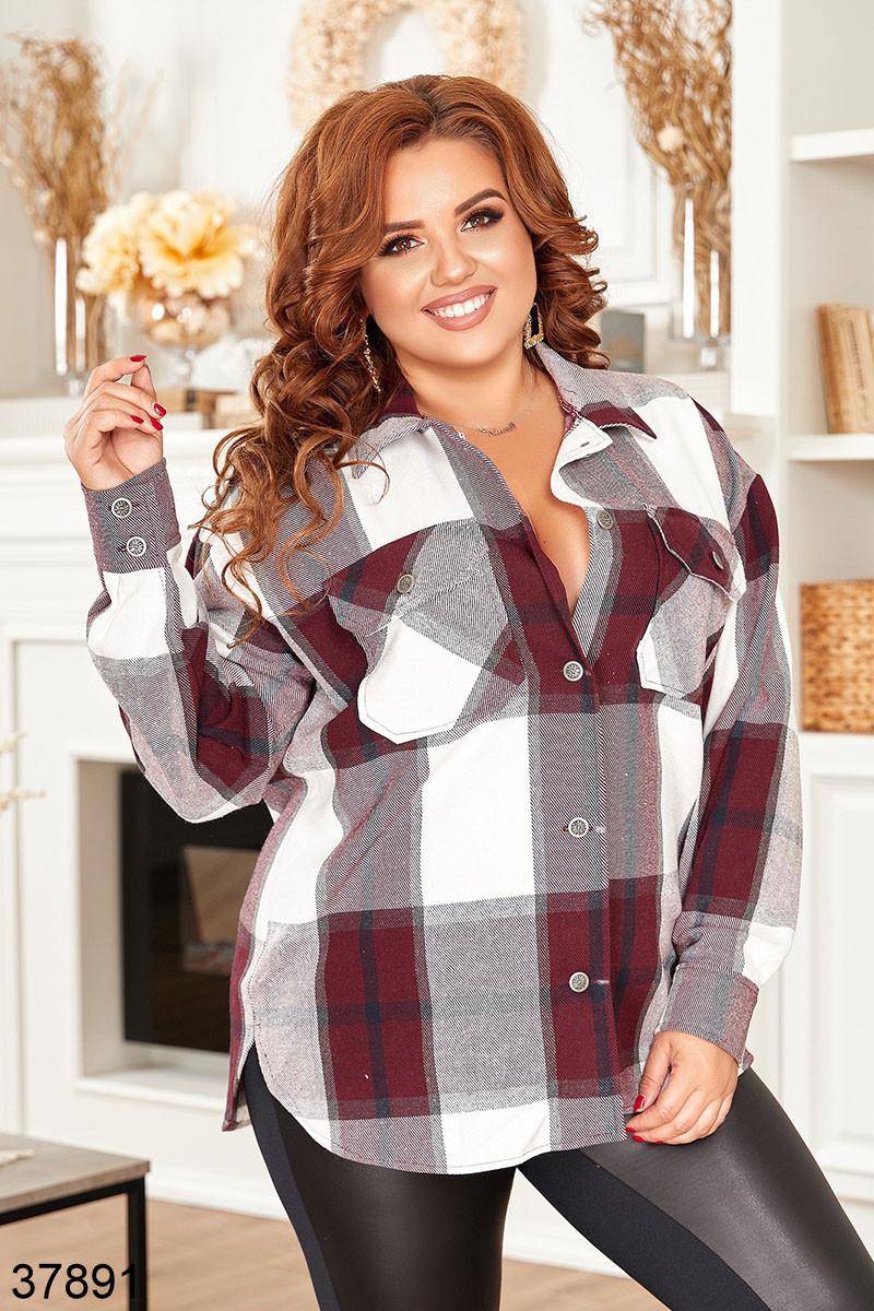 Женская клетчатая рубашка с карманами р. 52, 54, 56, 58