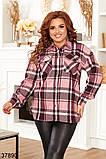 Женская клетчатая рубашка с карманами р. 52, 54, 56, 58, фото 4