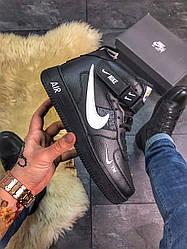 Жіночі кросівки Nike Air Force Black High Fur (хутро) (чорні)