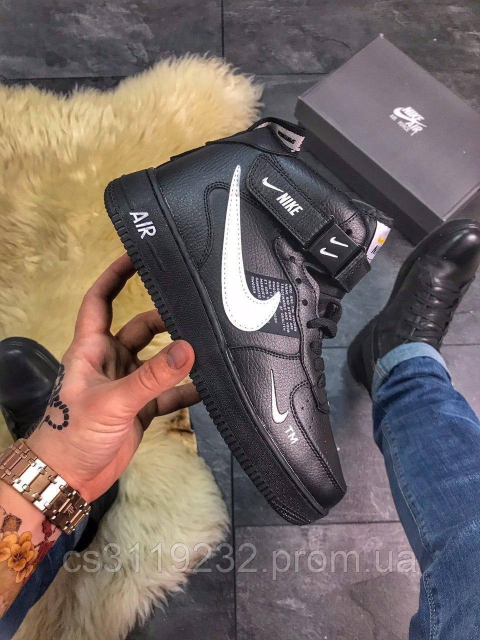 Женские кроссовки Nike Air Force High Black Fur (мех) (черные)