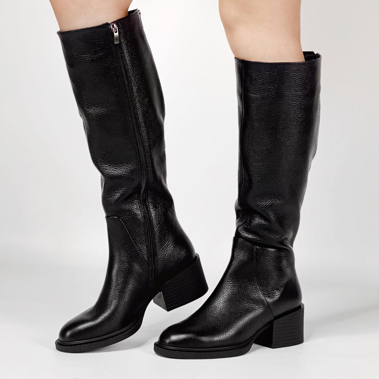 Сапоги женские кожаные черные на широкую голень на устойчивом каблуке MORENTO зимние
