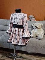 Святкова дитяча сукня з принтом Barbie з мереживом пудра трикотаж бавовна