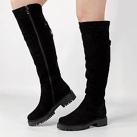 Ботфорти жіночі замшеві чорні на товстій підошві MORENTO зимові