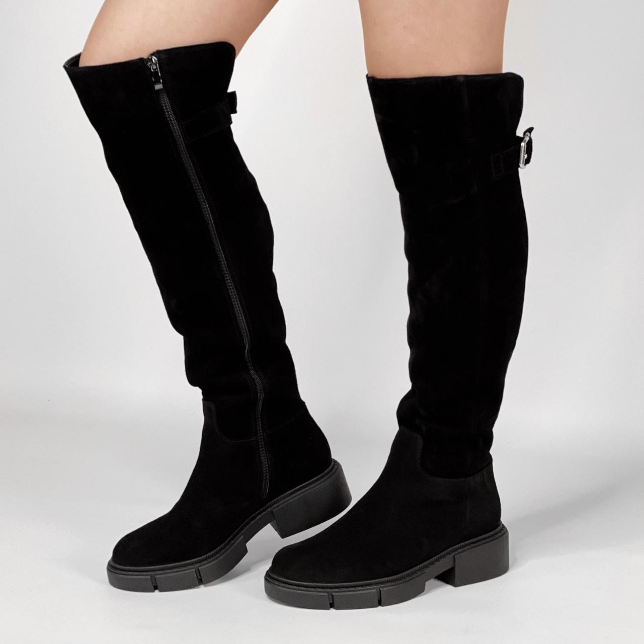 Ботфорты женские замшевые черные базовые MORENTO зимние