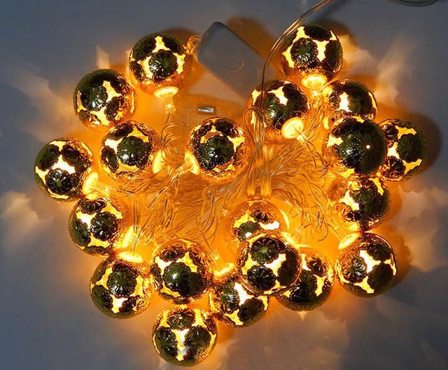 Новогодняя гирлянда с фигурками, шарики золото цвет 20LED