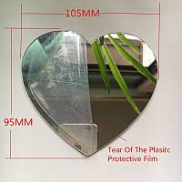 Декоративные зеркальные наклейки на стены «Сердце». Интерьерные акриловые декор-наклейки, ХРОМ.