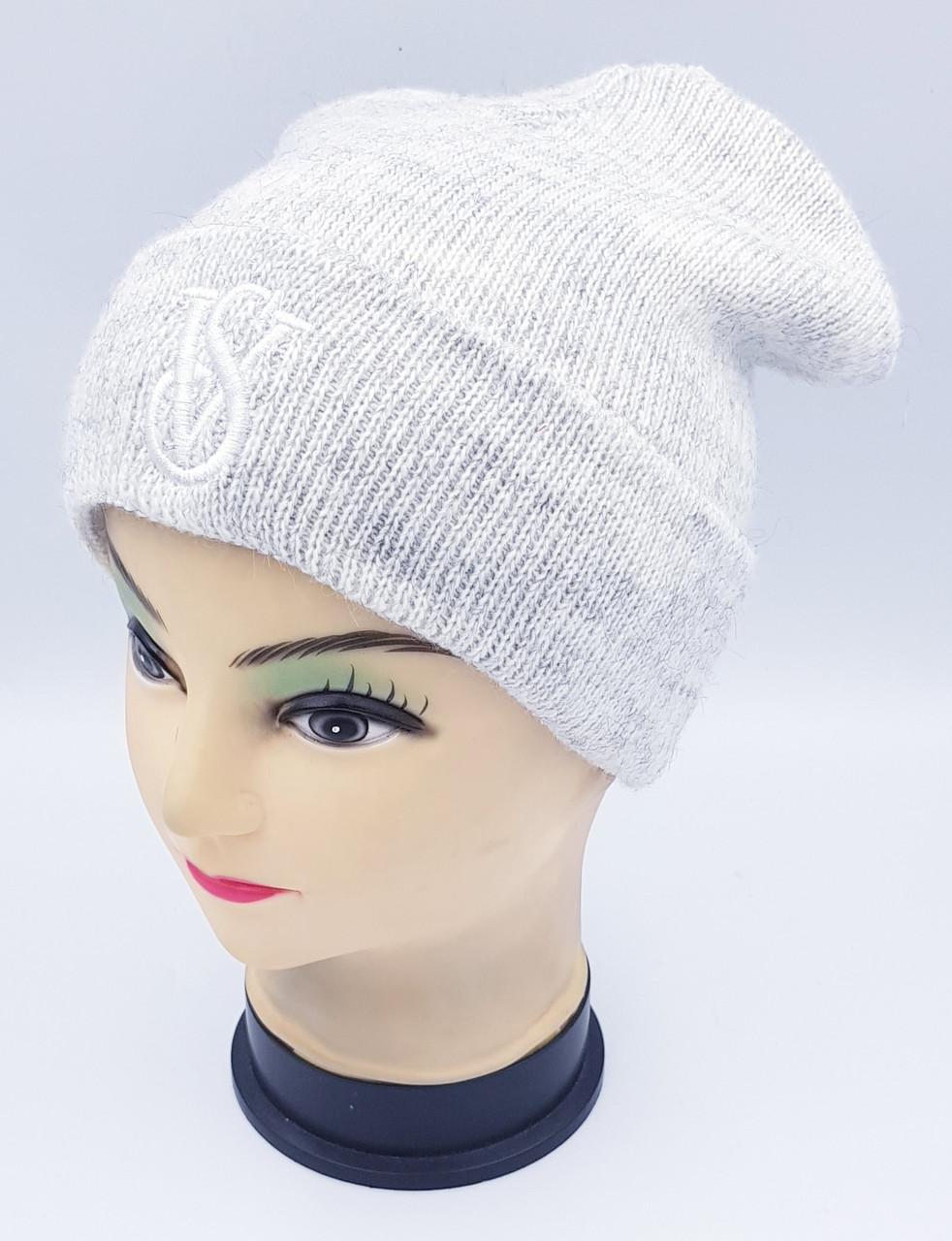Детская вязаная шапка Klaus Объемная вышивка 53-55см (384-ВА)