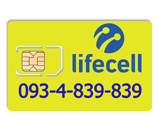 Красивый номер lifecell 093-4-839-839, фото 2