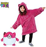 Детская Флисовая Толстовка плед Мягкая Игрушка Балахон с Капюшоном 2в1 для Девочки, Huggle Pets розовая кошка, фото 7
