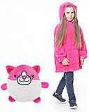 Детская Флисовая Толстовка плед Мягкая Игрушка Балахон с Капюшоном 2в1 для Девочки, Huggle Pets розовая кошка, фото 2
