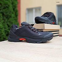 Мужские зимние кроссовки в стиле Adidas Climaproof черные с красным язычком