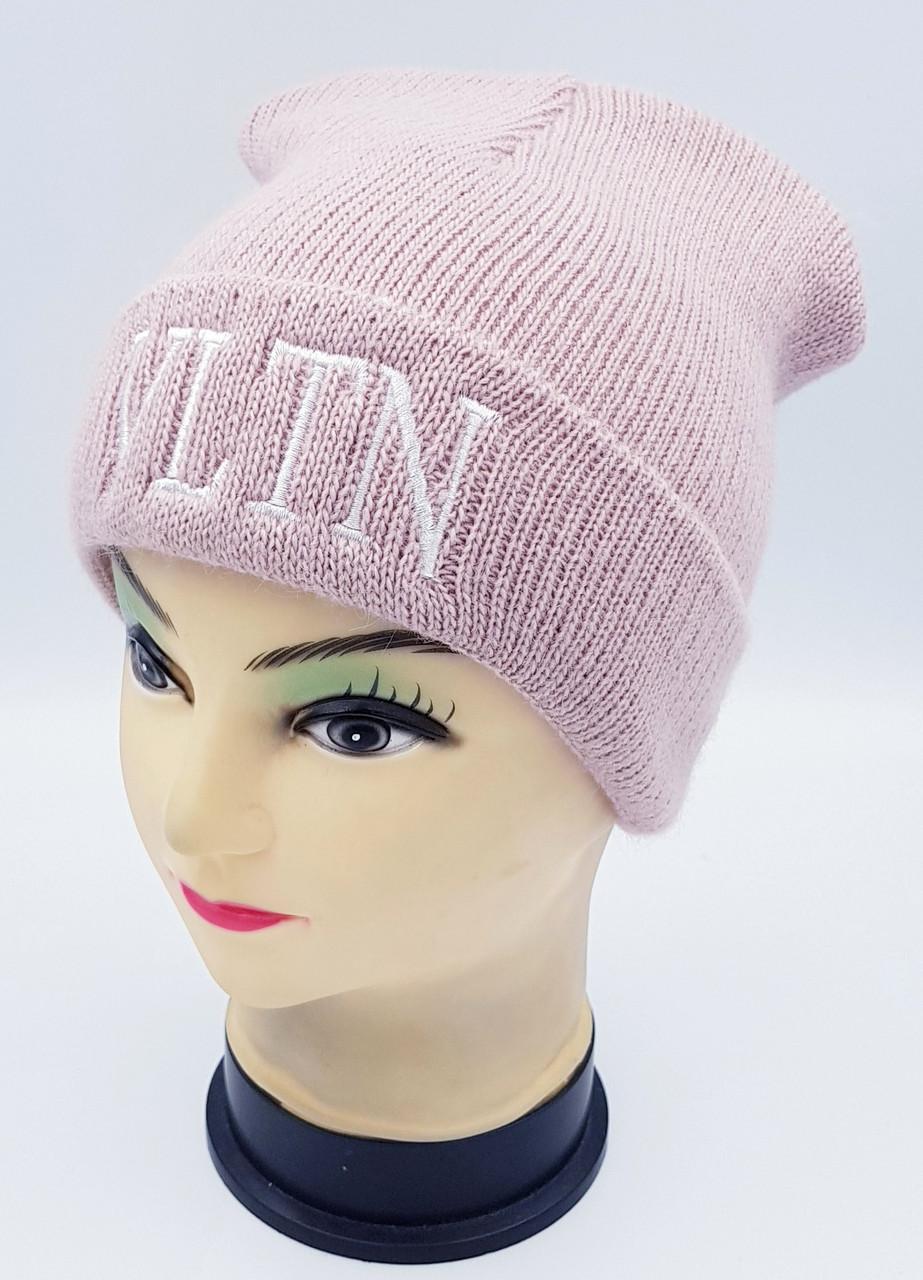 Детская вязаная шапка Klaus Объемная вышивка 53-55см (392-ВА)