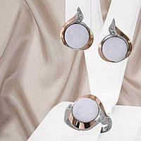 Красивый серебряный набор украшений с золотыми вставками и кахолонгом Яна, фото 1