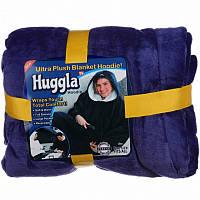Плед толстовка двухсторонняя халат с капюшоном и рукавами унисекс Huggle Hoodie темно-синий (Настоящие фото)