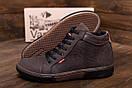 Мужские  зимние кожаные кроссовки  Levis Chocolate Classic (реплика), фото 9