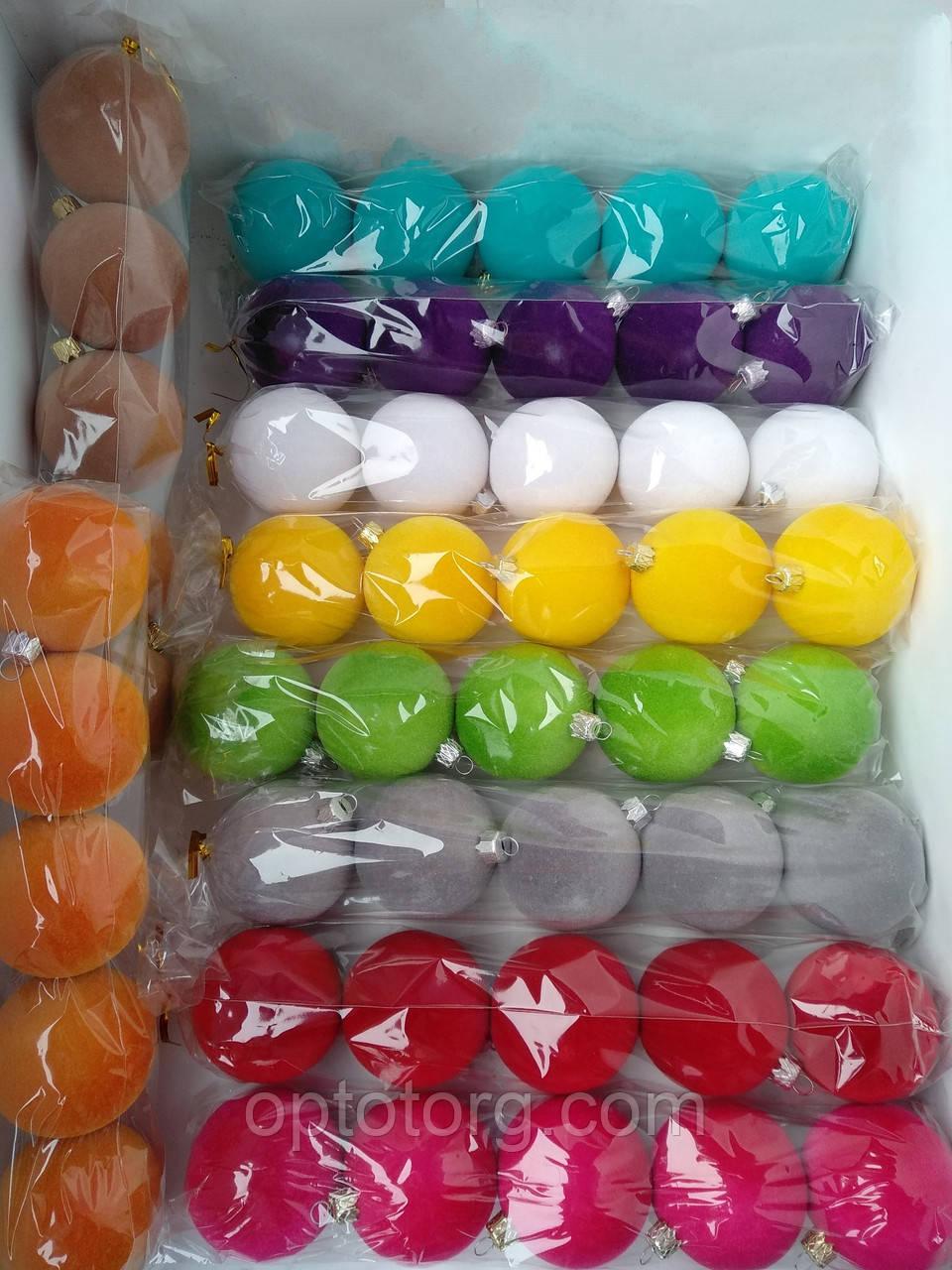 Новогодние игрушки шары бархатные 10 см 4 штук