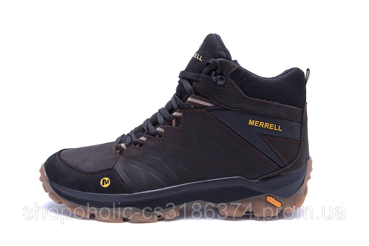 Мужские зимние кожаные ботинки Merrell Chocolate  (реплика)