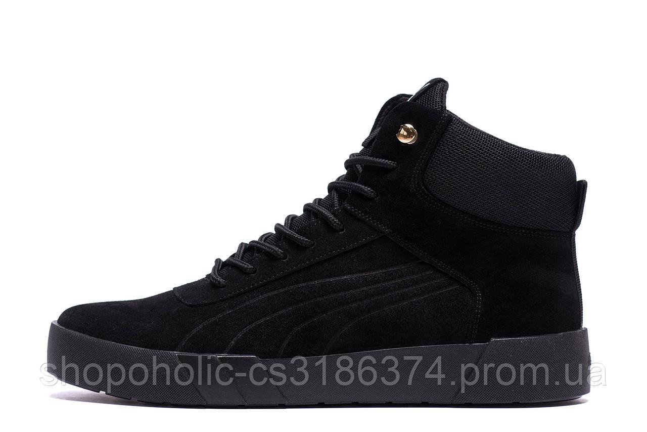 Мужские зимние кожаные ботинки Puma Black  (реплика)