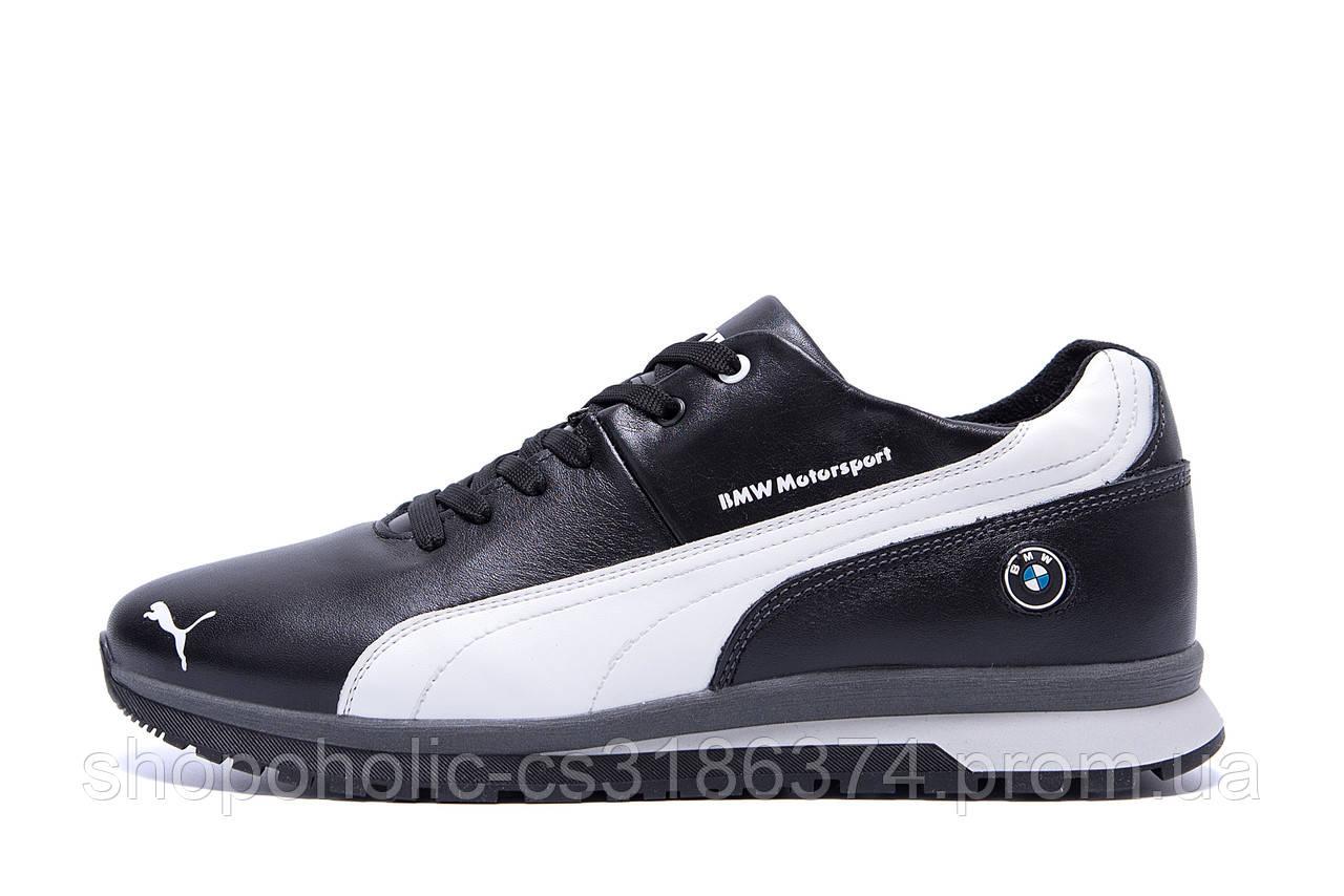 Мужские зимние кожаные кроссовки Puma BMW MotorSport Black Pearl (реплика)