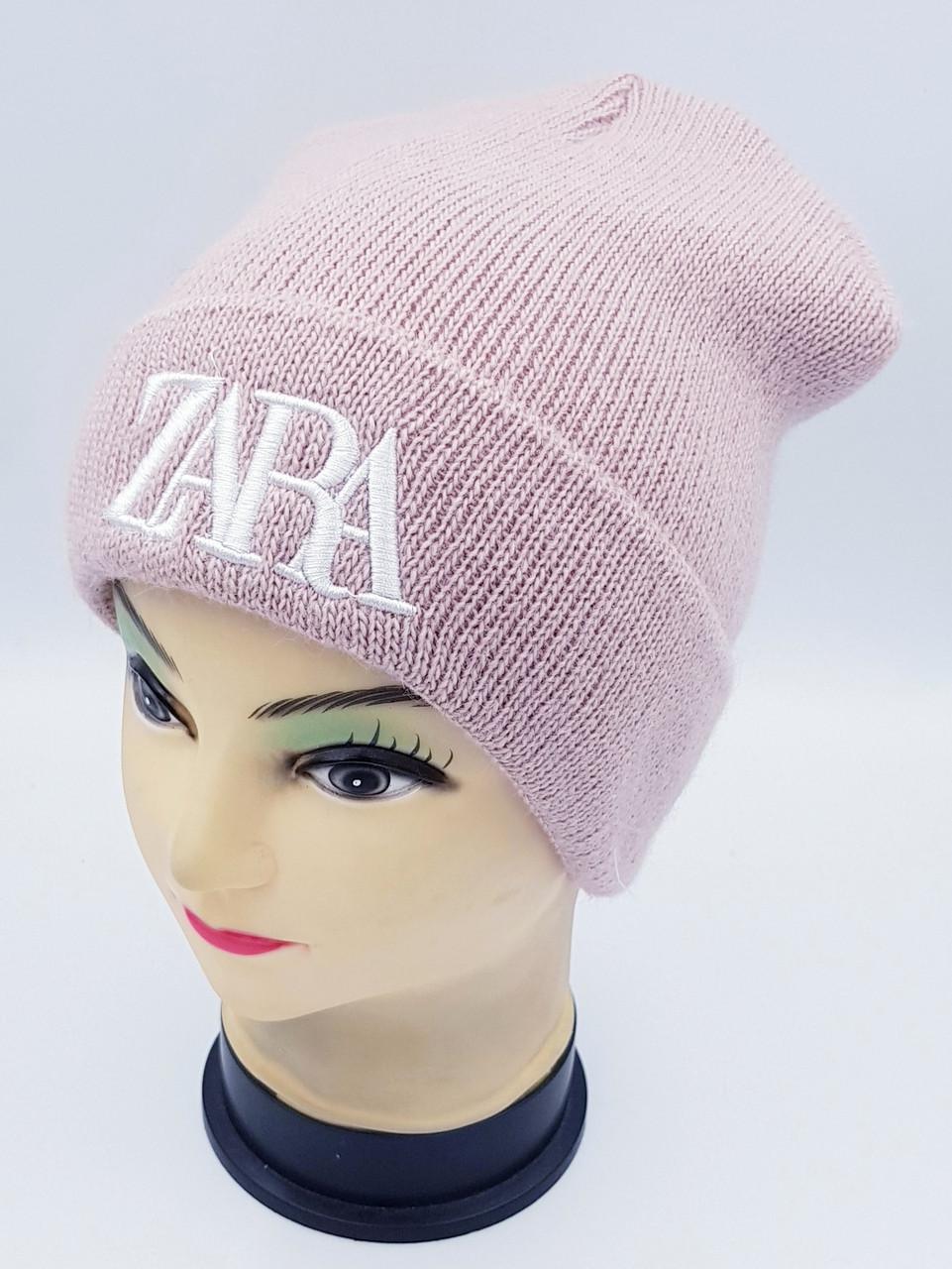 Детская вязаная шапка Klaus Объемная вышивка 53-55см (395-ВА)